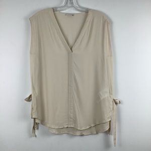 Riani V-Neck Sleeveless Side Tie Blouse in Cream